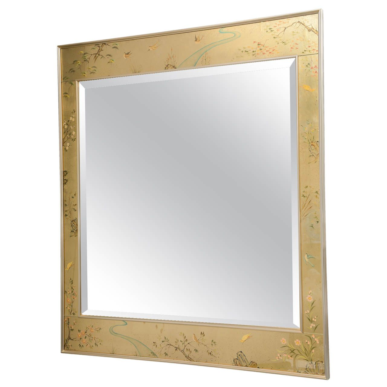Reverse Painted Glass Frame Mirror by La Barge | Frame mirrors ...