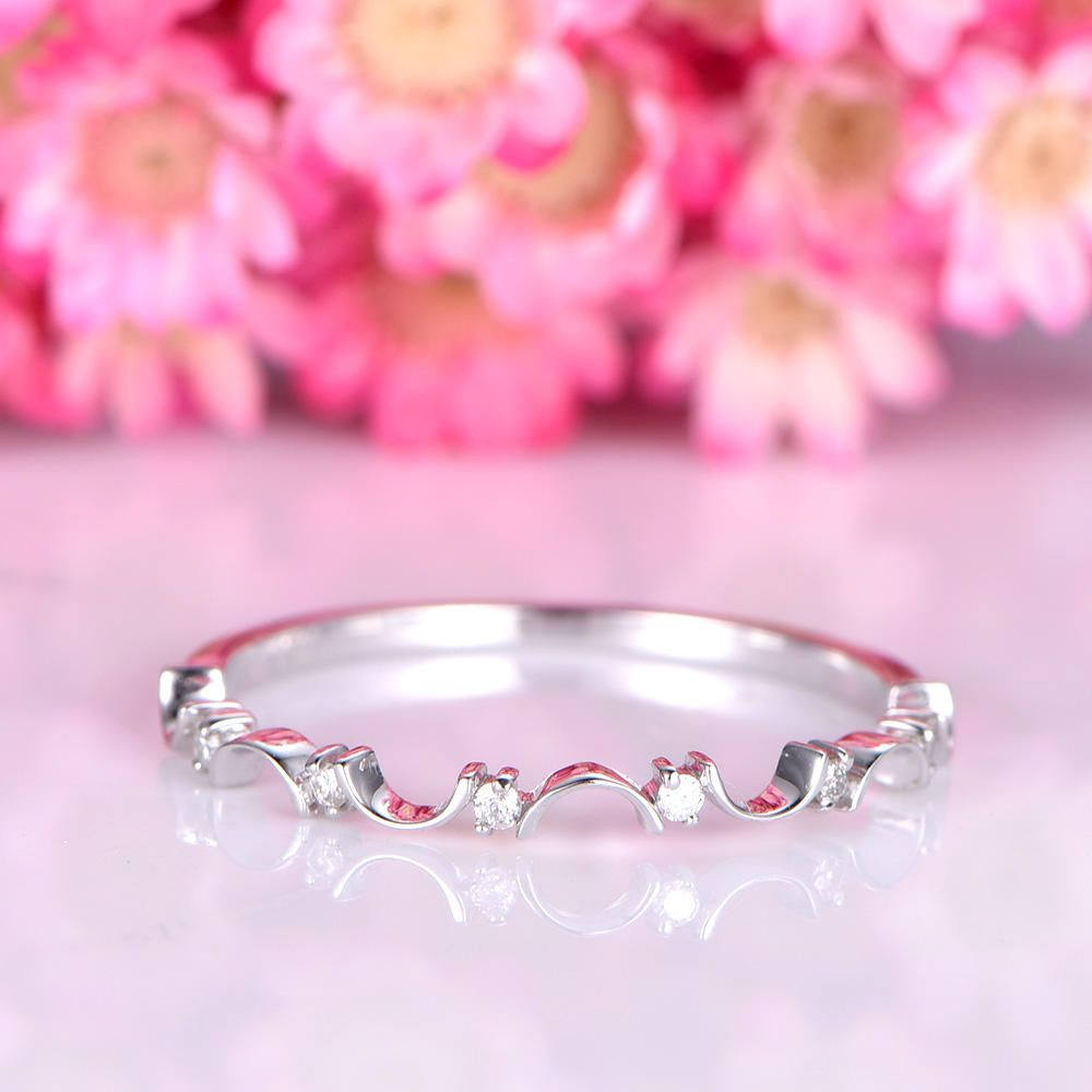 Diamond wedding band solid 14k white gold half eternity ring floral ...
