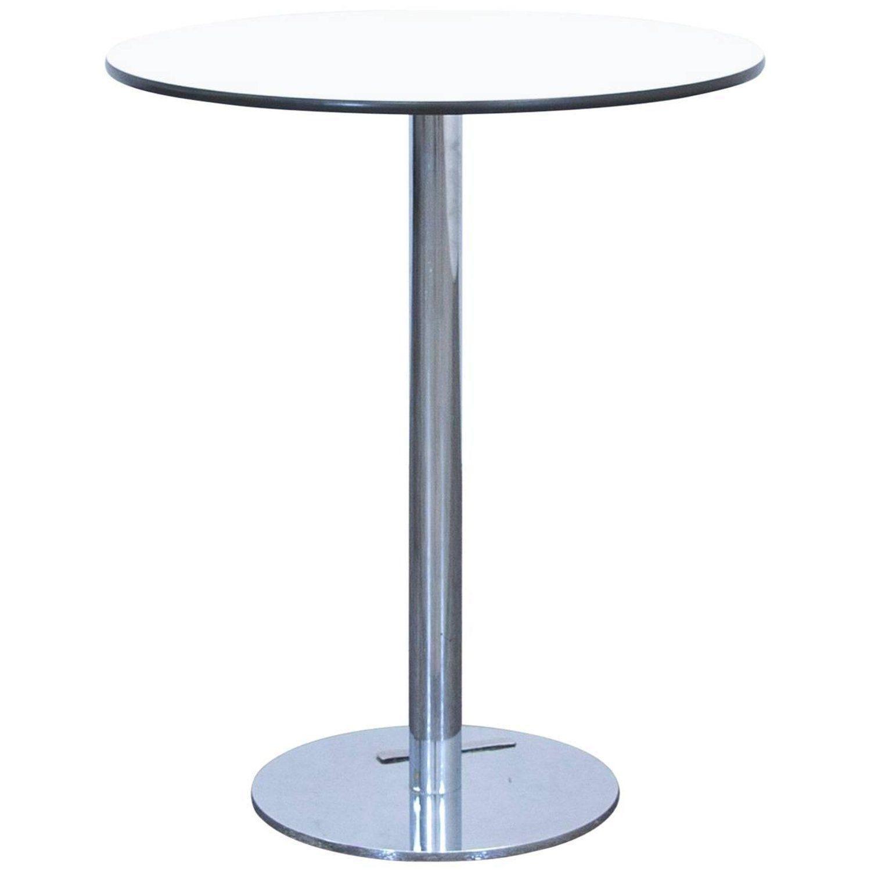 Designer Table White Wood Chrome Swiss Air Lounge Bistro Round ...