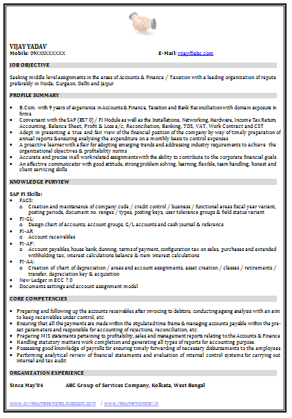 sap consultant resume sample  page 1