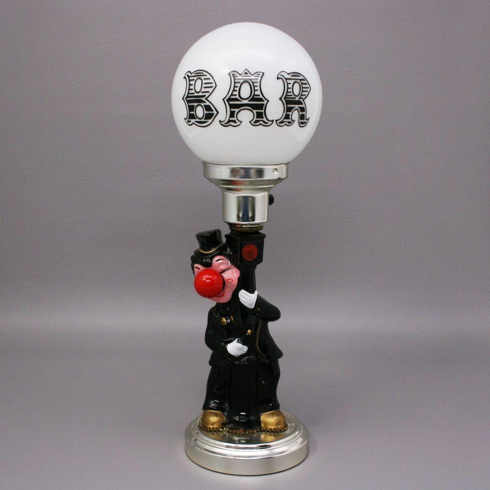 """Vtg 17"""" Drunk Hobo Bum Leaning Lamp Post Bar 3-Way Light"""