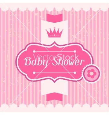 Girl Baby Shower Invitation Card Vector By Incomible On
