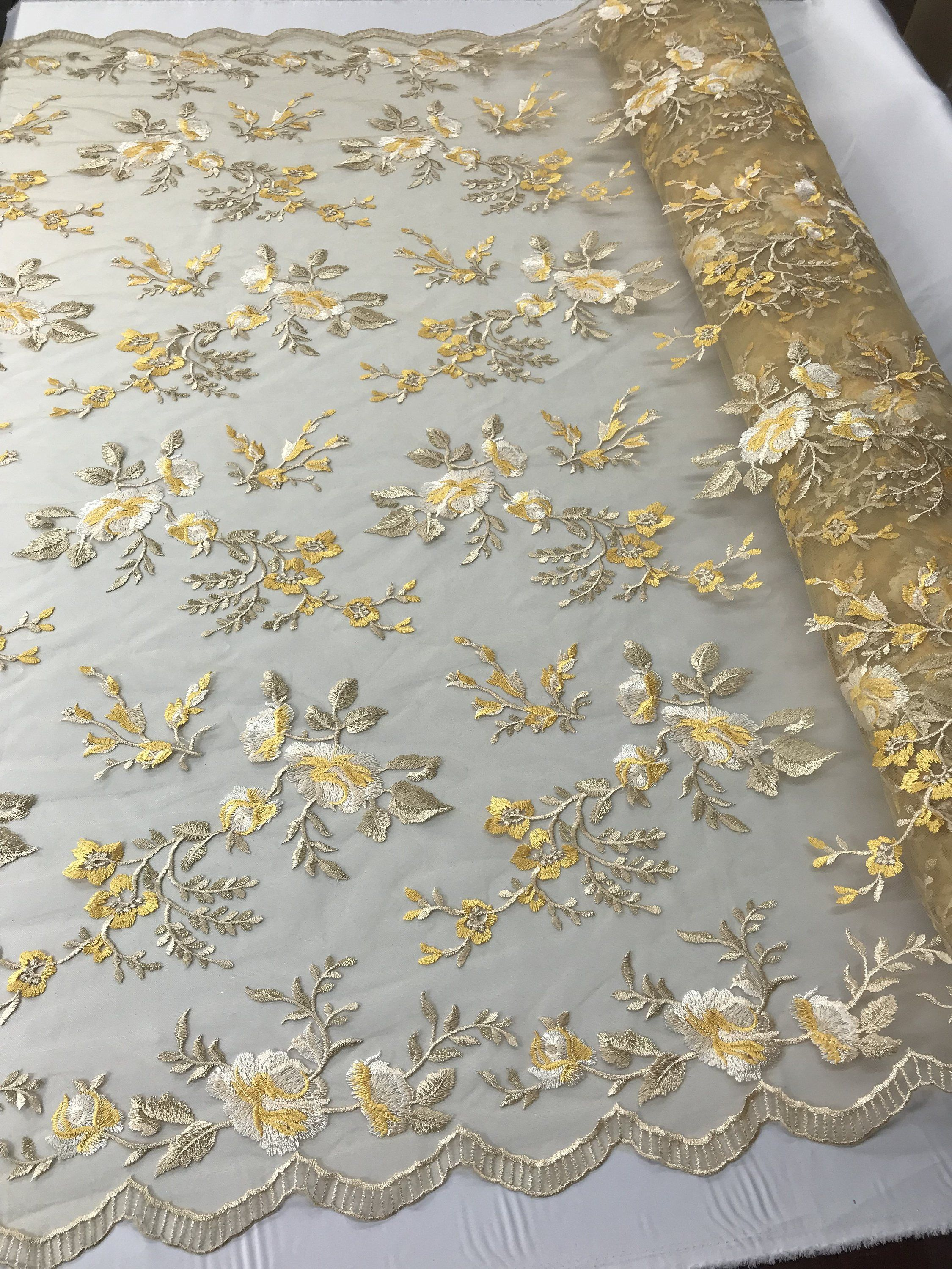 Yellow Flower Lace Fabric Embroidered By The Yard Mesh Floral Tablecloths