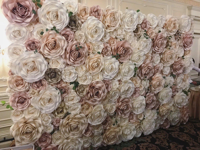 Oversized mixed size paper flowers 15 units Wedding centerpiece Amazing flower backdrop wall Photoshoot backdrop.