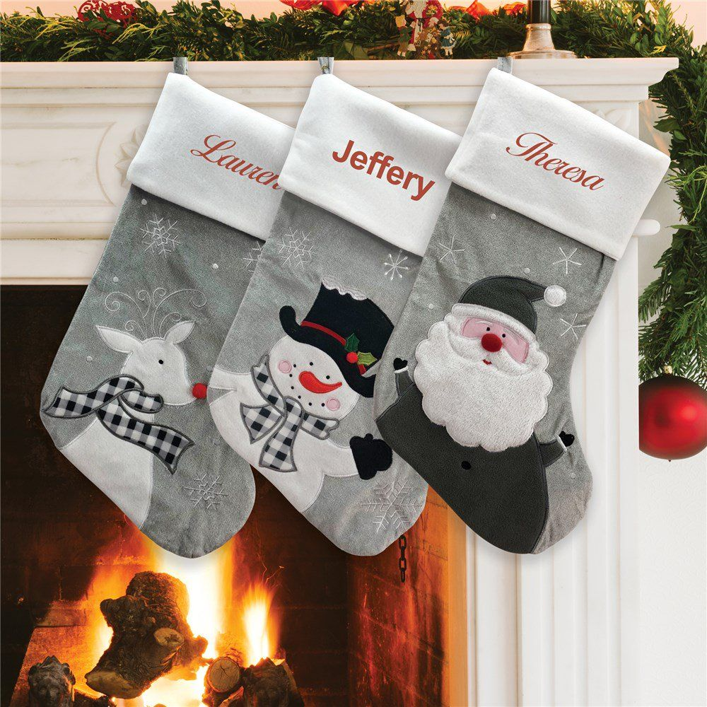 bd5aa1e58 Personalized Grey Fleece Christmas Stocking