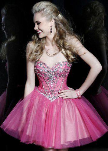 2015 Hot Pink Strapless Beaded Lace A Line Sherri Hill 21156 Short Prom  Dress [Sherri