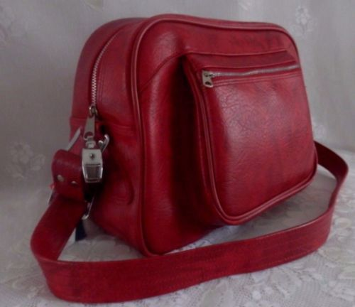 vintage american tourister red marble shoulder strap carry on bag luggage w key