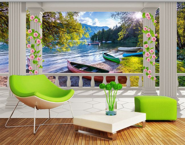 tapisserie trompe l 39 oeil paysage 3d papier peint personnalis au bord du lac papier peint 3d. Black Bedroom Furniture Sets. Home Design Ideas
