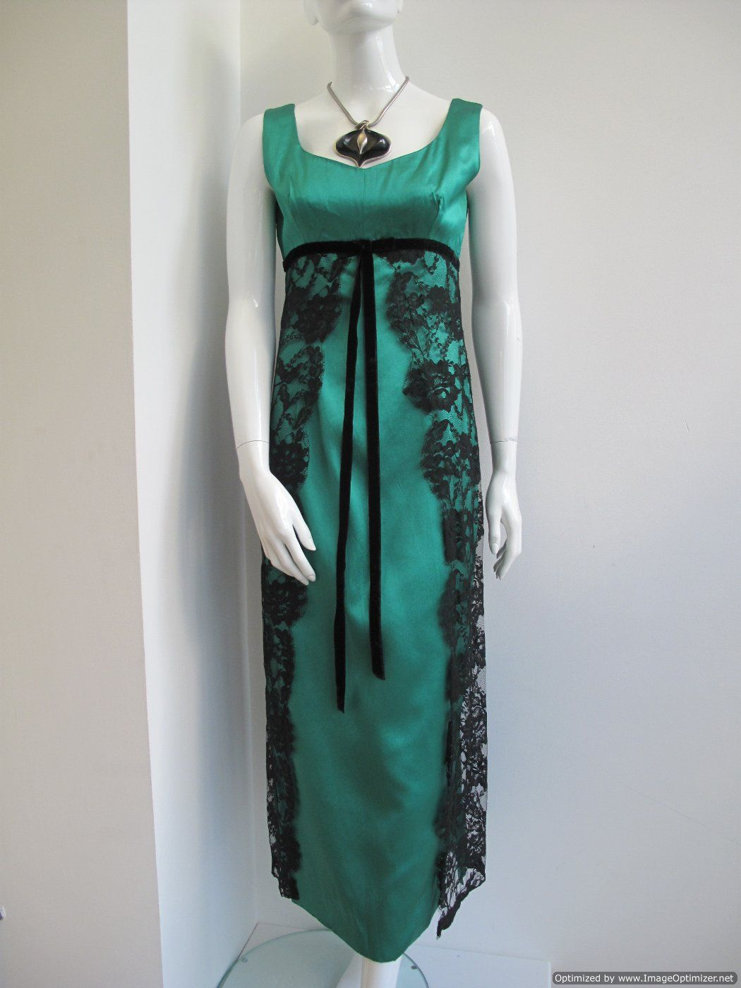 vintage evening gowns | 1960 s Vintage Empress line green vintage ...