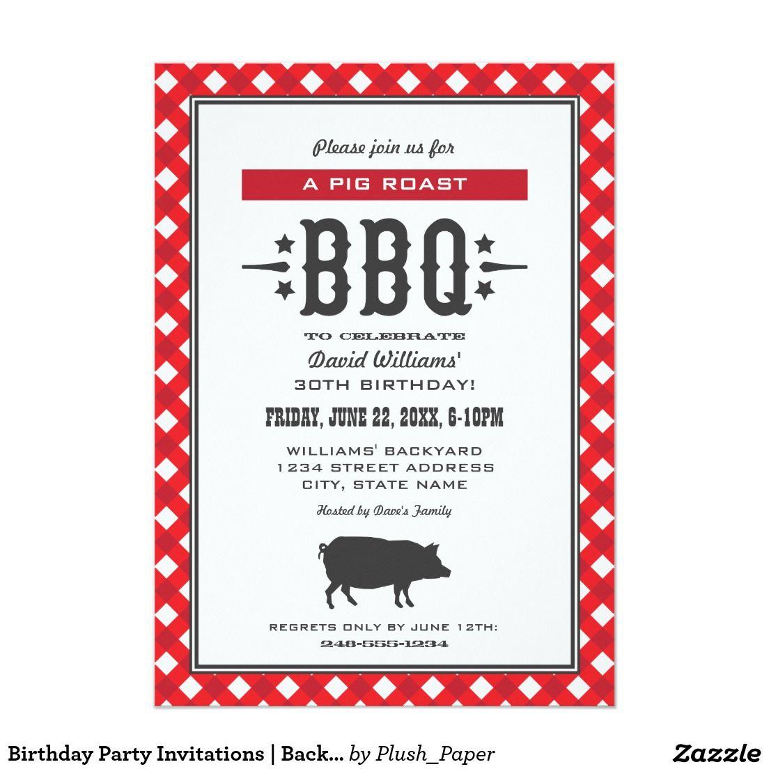 Birthday Party Invitations | Backyard BBQ Theme | Backyard bbq ...