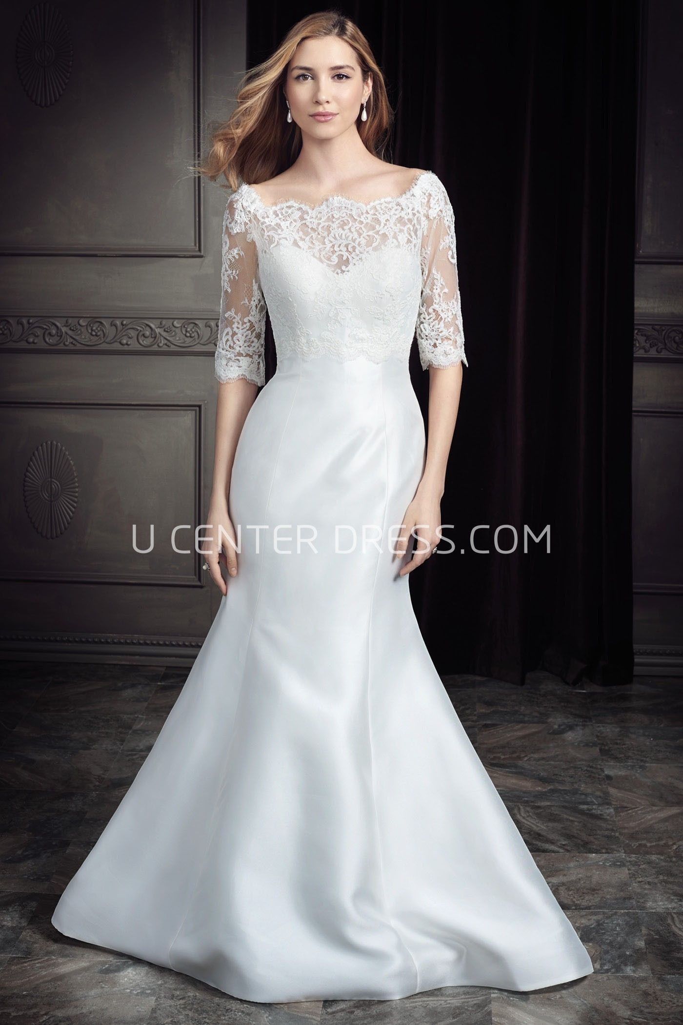 Ustrumpet bateauneck halfsleeve long satin and lace
