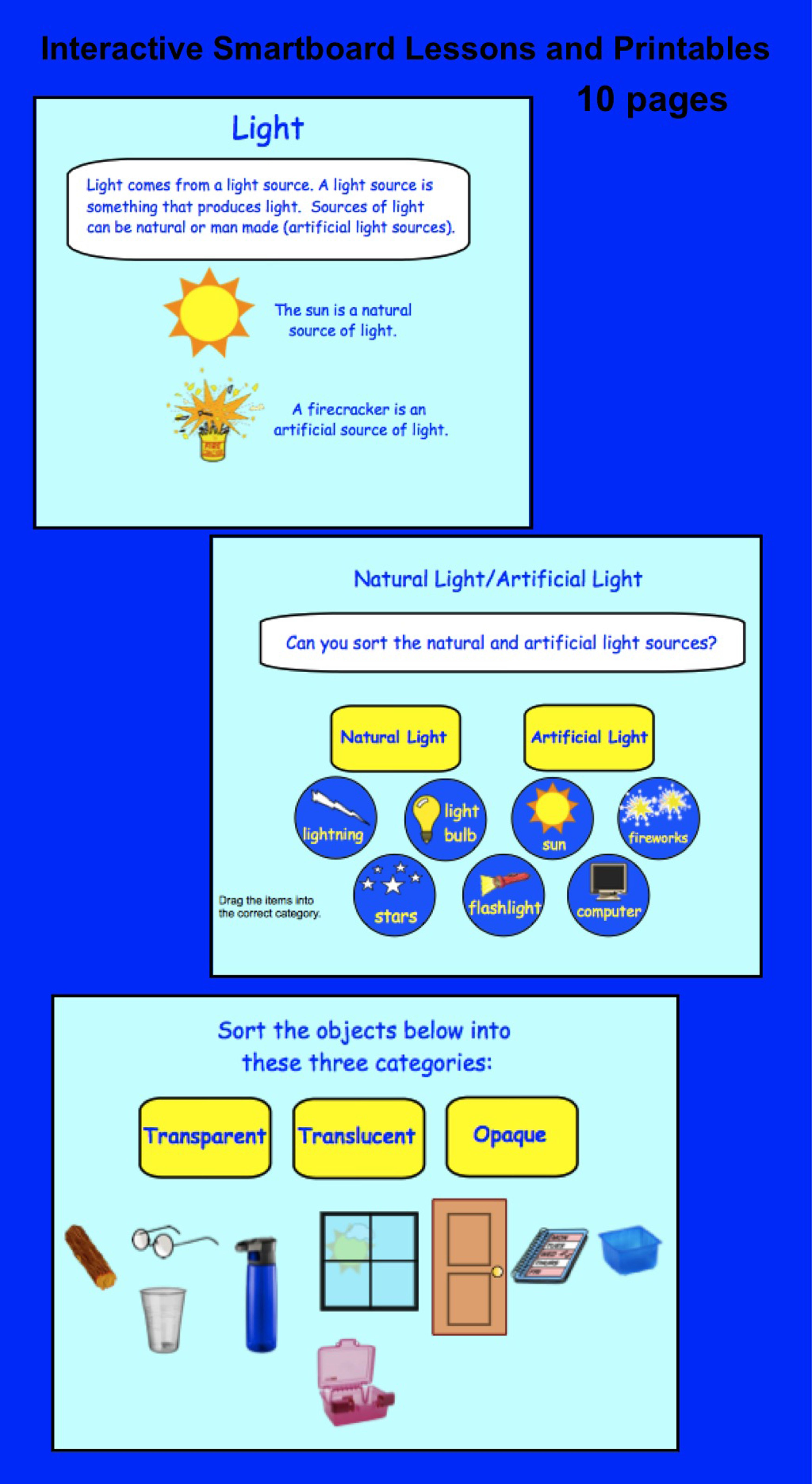 Light Interactive Smartboard Activities For Gr 3