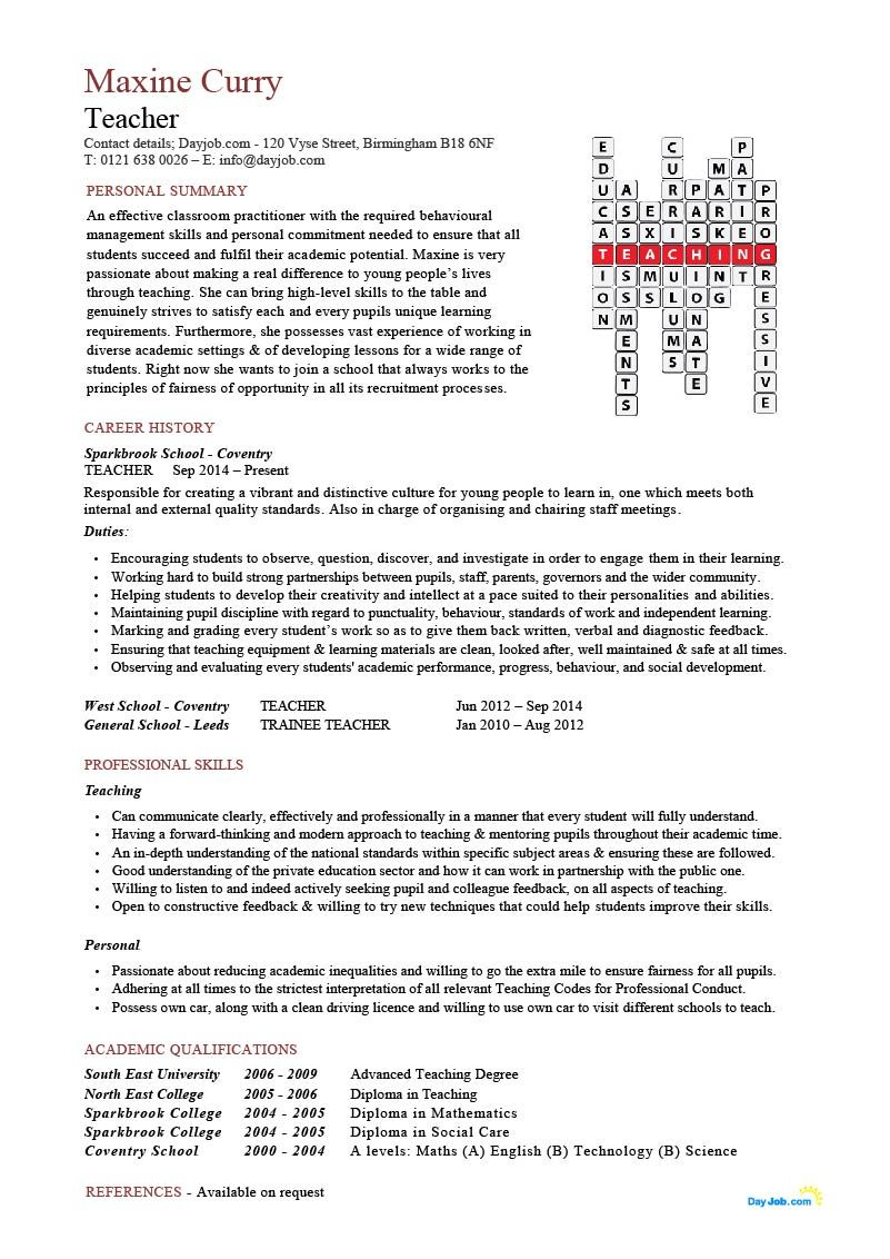 Teacher resume Crossword template, CV, skills, high school ...