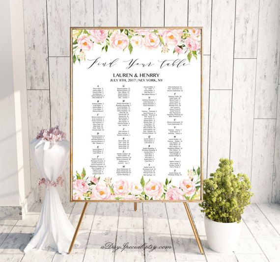 Peony Alphabetical Seating Chart Template, Printable