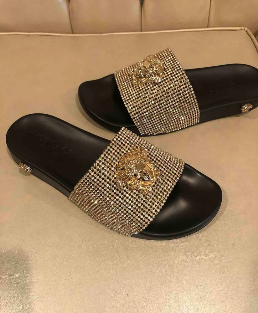 43626af9eee16 Authentic Versace Medusa - Diamond Gold  Black Slides  fashion  clothing   shoes  accessories  mensshoes  sandals  ad (ebay link)