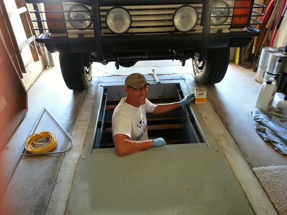 Car Underground Shelter : Floor storm shelter and garage mechanic pit fun home