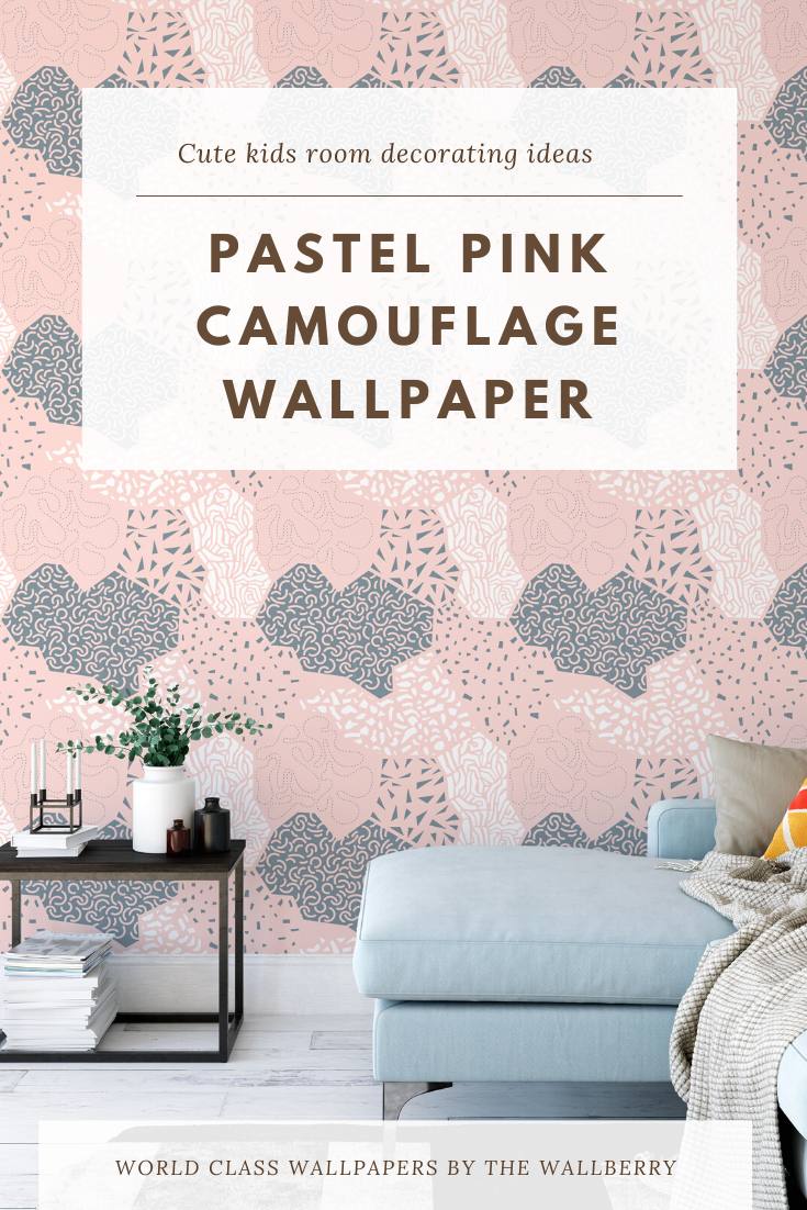 Pink Camouflage Self Adhesive Wallpaper Modern Nursery Peel Etsy Pink Camouflage Wallpaper Kids Room Wall Pink Geometric Wallpaper