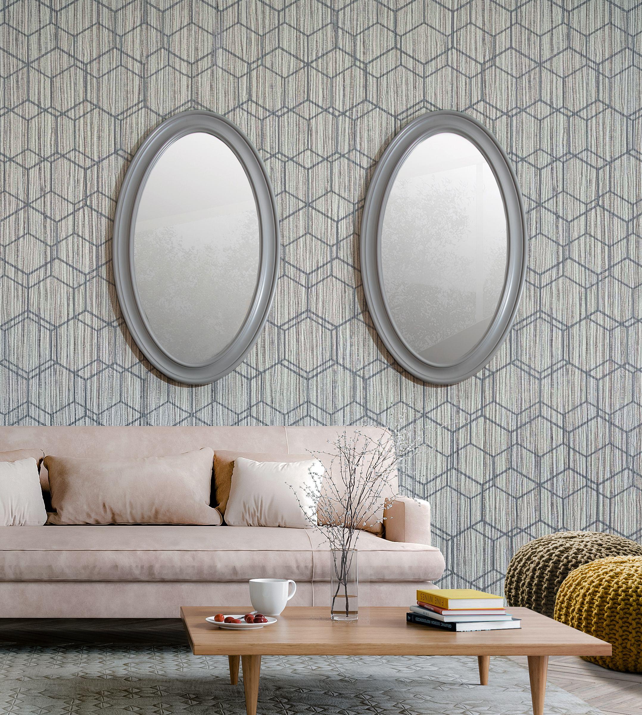 Lustro Owalne W Drewnianej Ramie Szare Round Mirror Bathroom Decor Home Decor