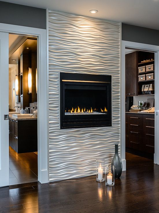 Contemporary Hall With Modern Gass Fireplace Design Ideas Also