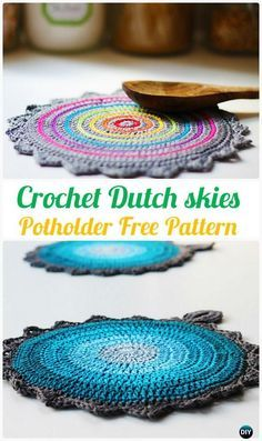 Hekle nederlandske himmel gryteklut Free Mønster - Heklet Pot Holder Hotpad Free Patterns