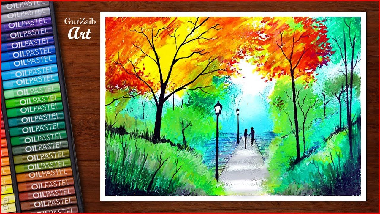 Nature Drawing With Oil Pastels Colorful Trees In Autumn Season