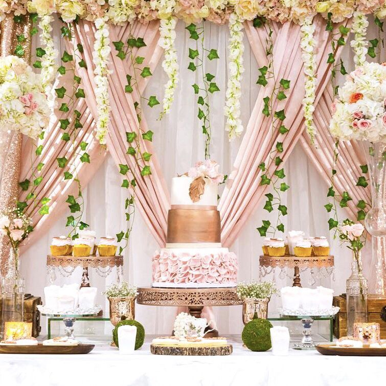 Gorgeous Rose Gold Dessert Table And Floral Design By Lorenzoevents Rose Gold Cake Stands Avai Baby Shower Dessert Table Rose Gold Cake Stand Rose Gold Cake