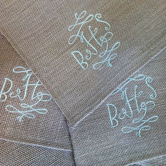 Thanksgiving table setting... Monogrammed Burlap Placemat Set by CottonSeedsDesign on Etsy