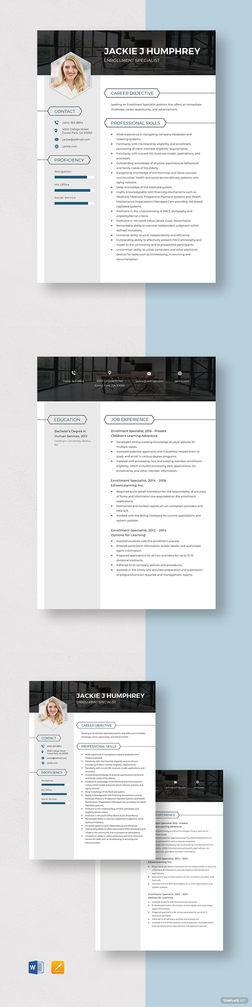 enrollment specialist resume template in 2020  resume