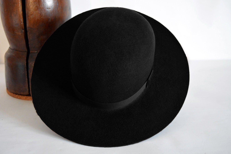 Round Crown Fedora The Indian Black Wide Brim Hat Men Etsy Black Wide Brim Hat Hats For Men Wide Brim Hat Men