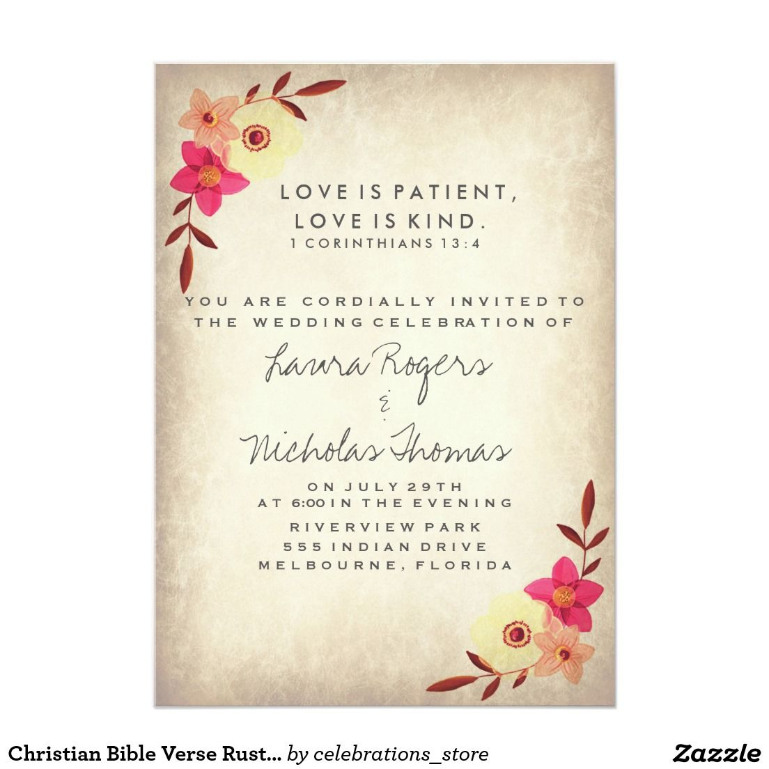 Christian Wedding Reception Ideas: Christian Bible Verse Rustic Country Floral 5x7 Paper