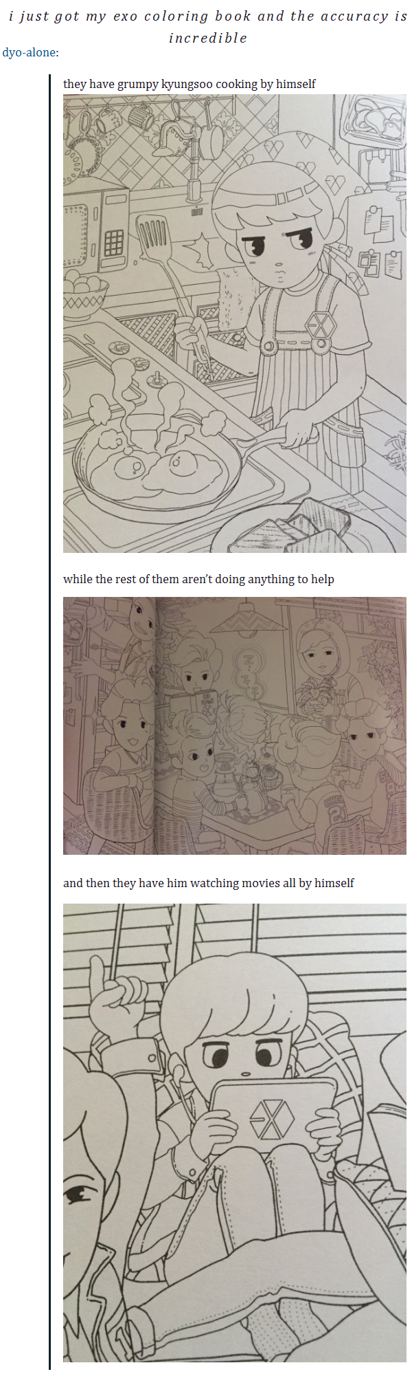 Exo Coloring Book And The Accuracy Lets Not Miss That Im Pretty Sure Thats Kai Sleeping On Table