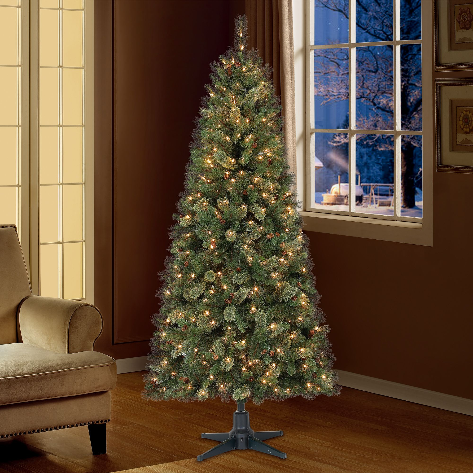 Holiday Time 7ft Pre Lit Brookfield Fir Cashmere Quick Set Artificial Christmas Tree With 350 Clear Artificial Christmas Tree Fir Christmas Tree Christmas Tree