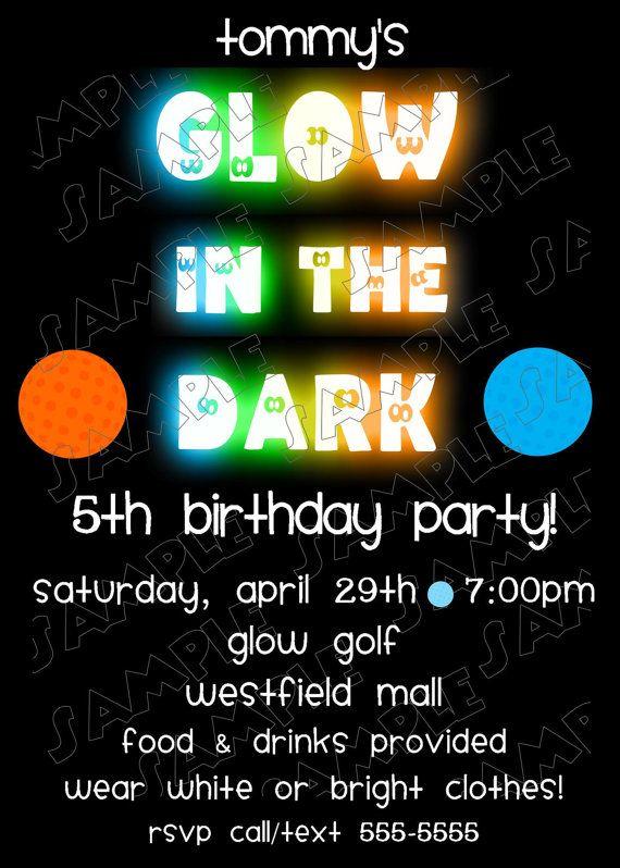 Glow in the dark miniature golf birthday invitationDIY you print - fresh birthday invitation jokes