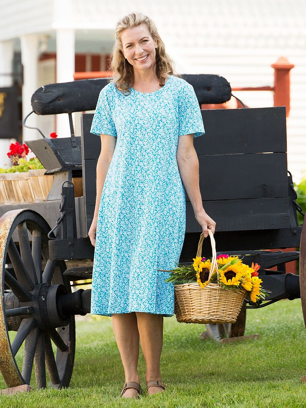Fresh Florals Cotton A-Line Dress – Turquoise – M (10-12) – Vermont Country Store