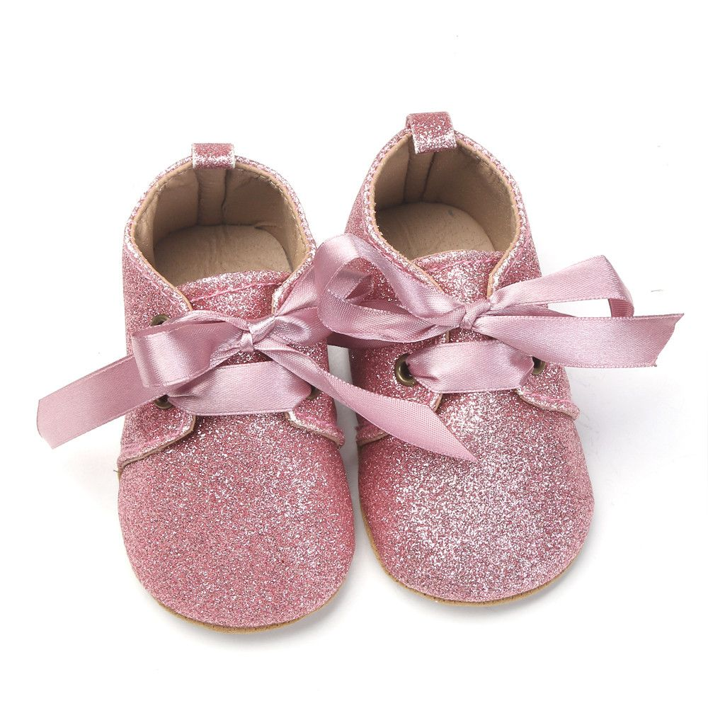 Lace Bow Tie Shiny Shoes Newborn Baby First Walkers Girl Boys 2017 Summer  Sequins Bling Leather Shoes Up Slip Sneaker 4fdc3957a32f