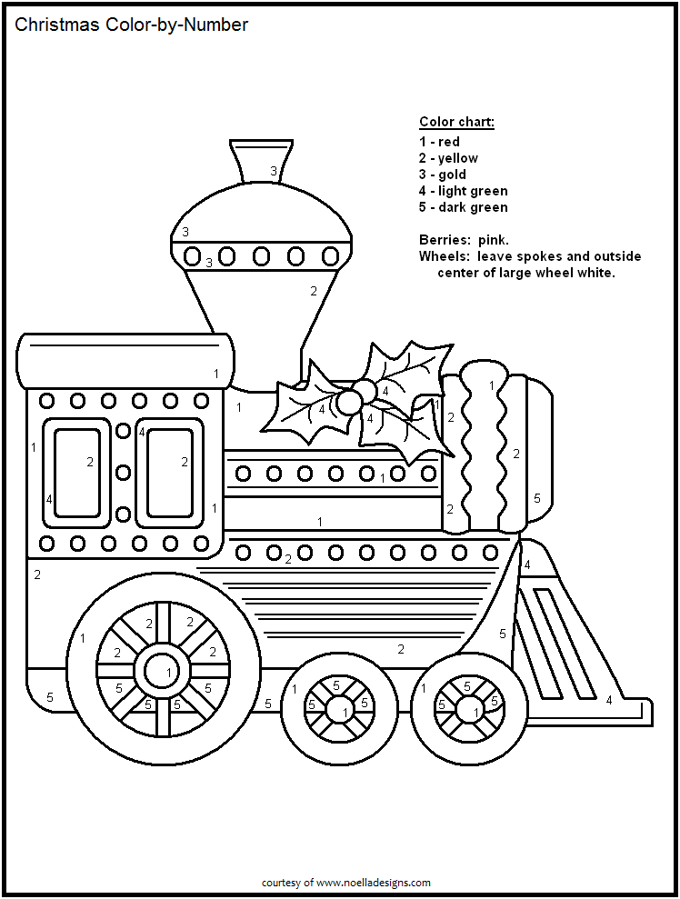 Color By Number Christmas Train In 2020 Christmas Color By Number Free Christmas Printables Train Coloring Pages