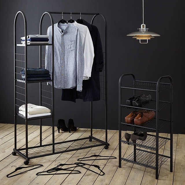 BuyJohn Lewis Clothes Rail With Shelf Unit, Black Online At Johnlewis.com