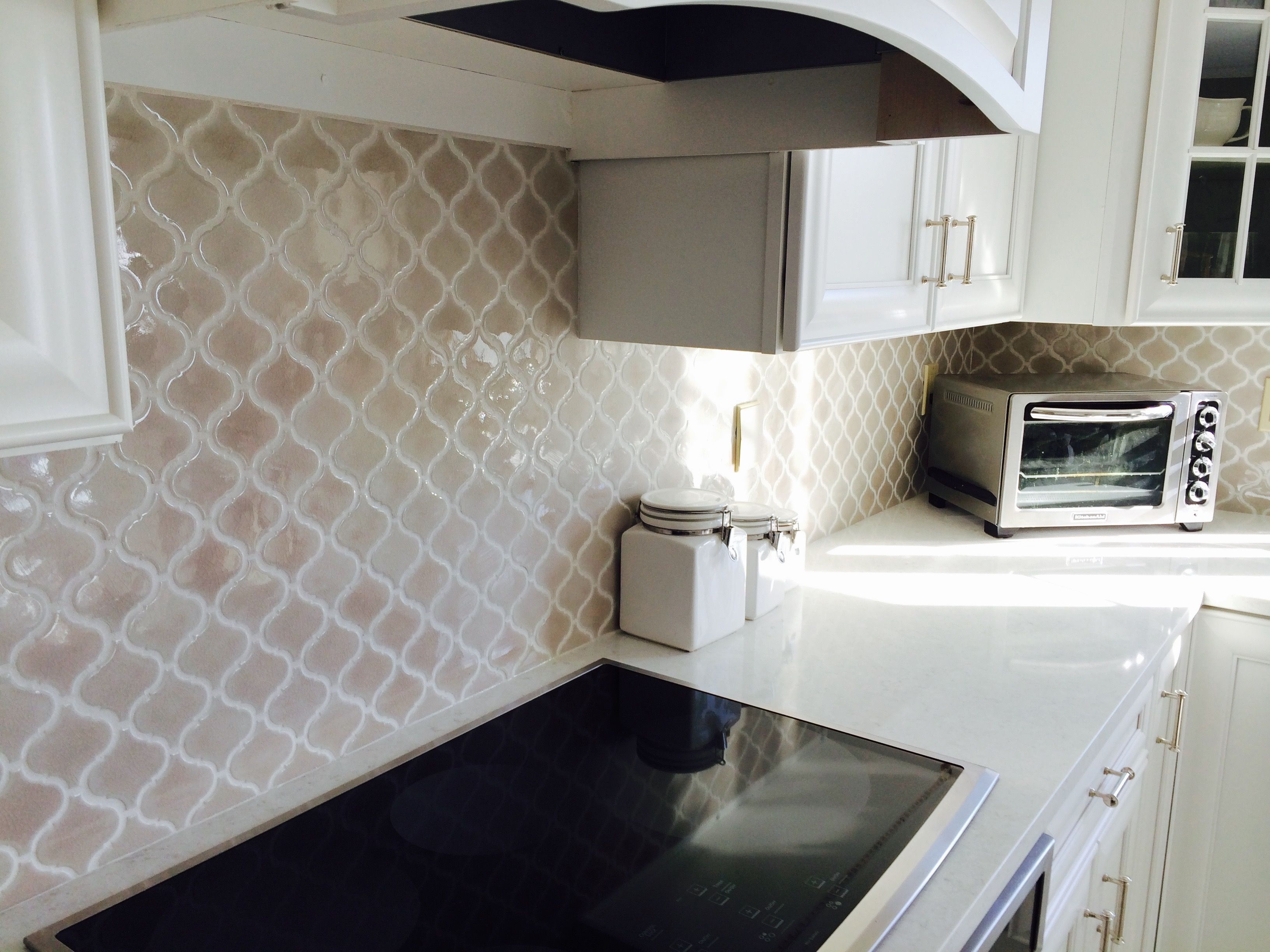 Fog Arabesque Backsplash Tile From Home Depot Herringbone