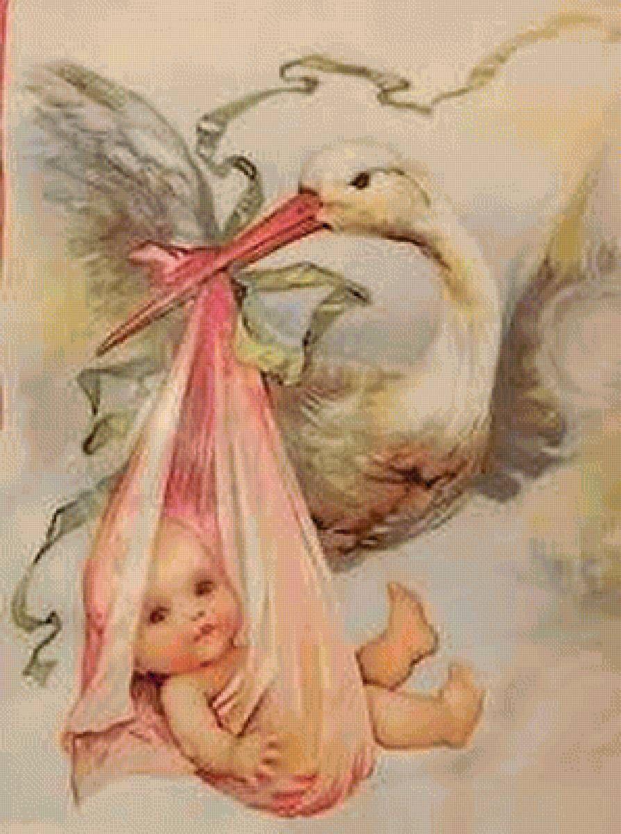 Открытка с новорожденным аист, для дочери