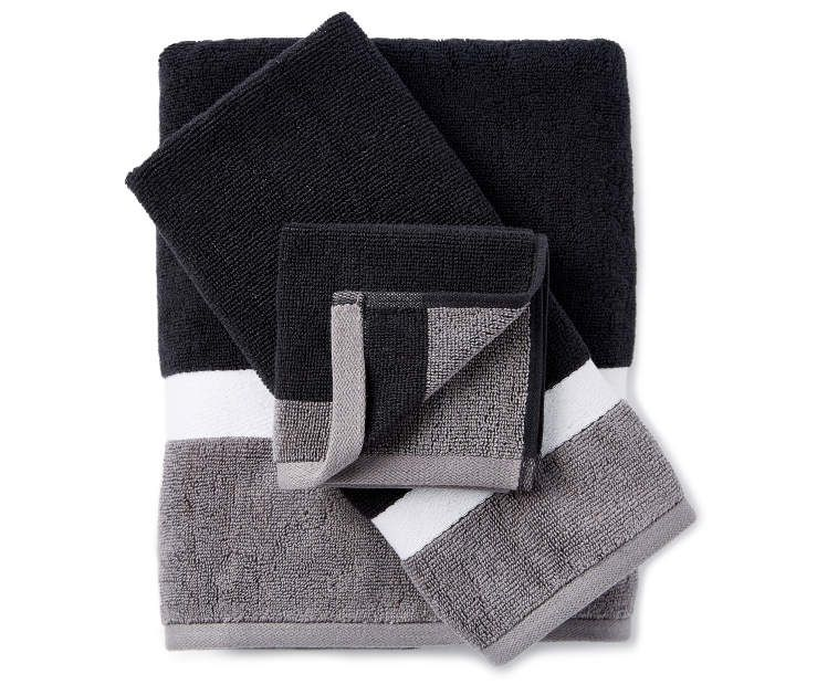 Just Home Black Gray Reversible Towels Towel Black Bath Towels