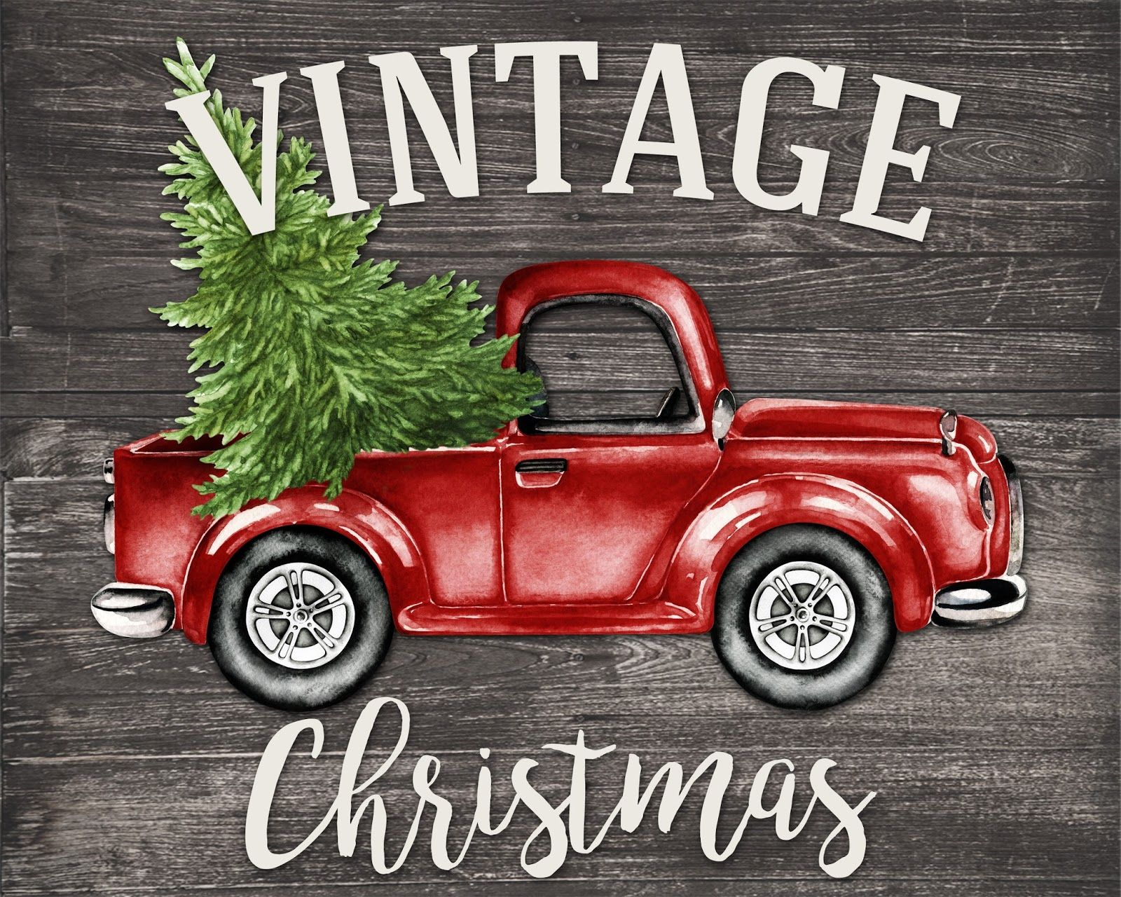 Words For Christmas Card Old Fashioned Truck