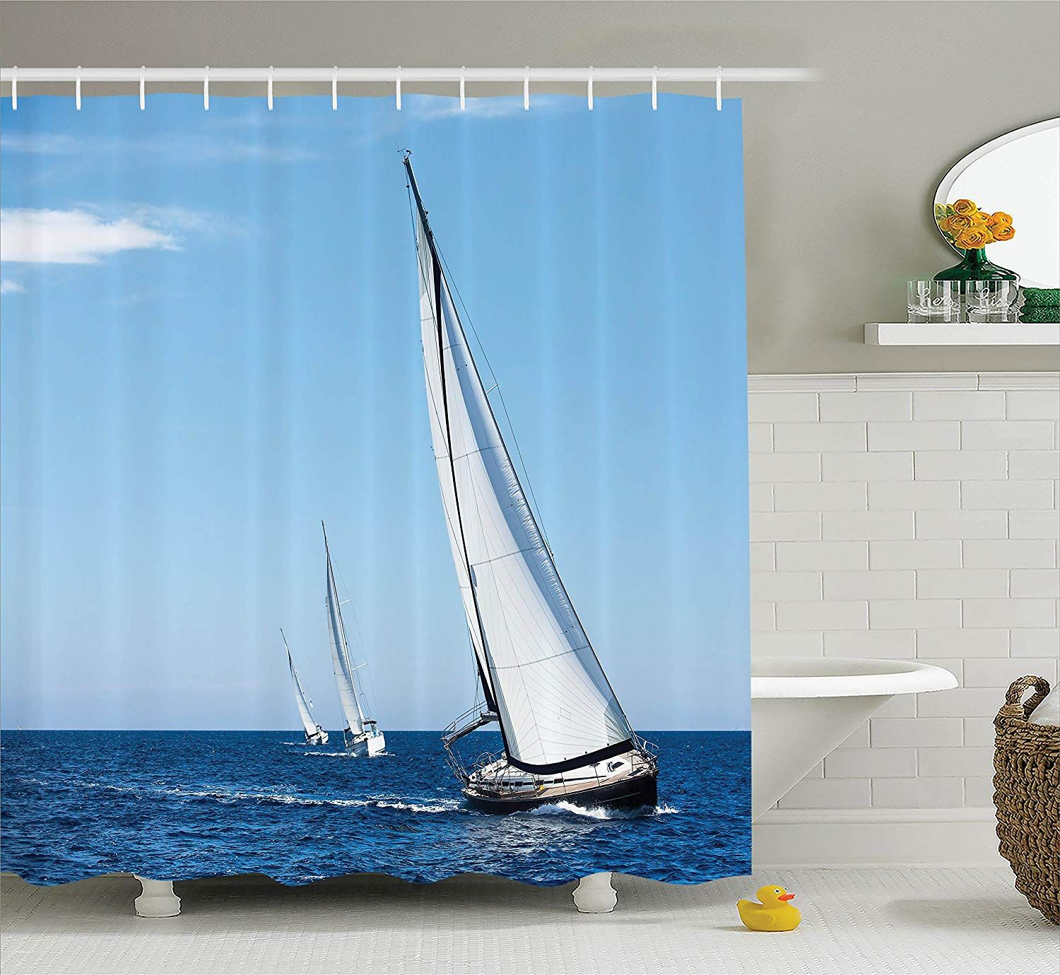 Ambesonne Sailboat Nautical Decor Collection Luxury Yachts Sailing In The Wind Through The Waves At The Aegean Sea Picture Polyester Fabric Bathroom #aegeansea