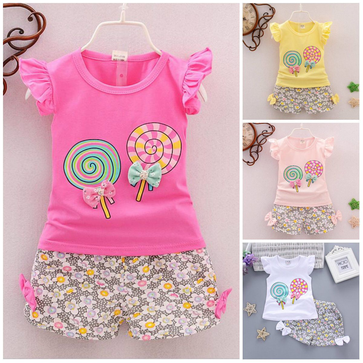 2pcs Toddler Kids Baby Girls Sleeve T-shirt Tops Pants Fashion Clothing Girl Outfits Clothes Set Girls' Clothing