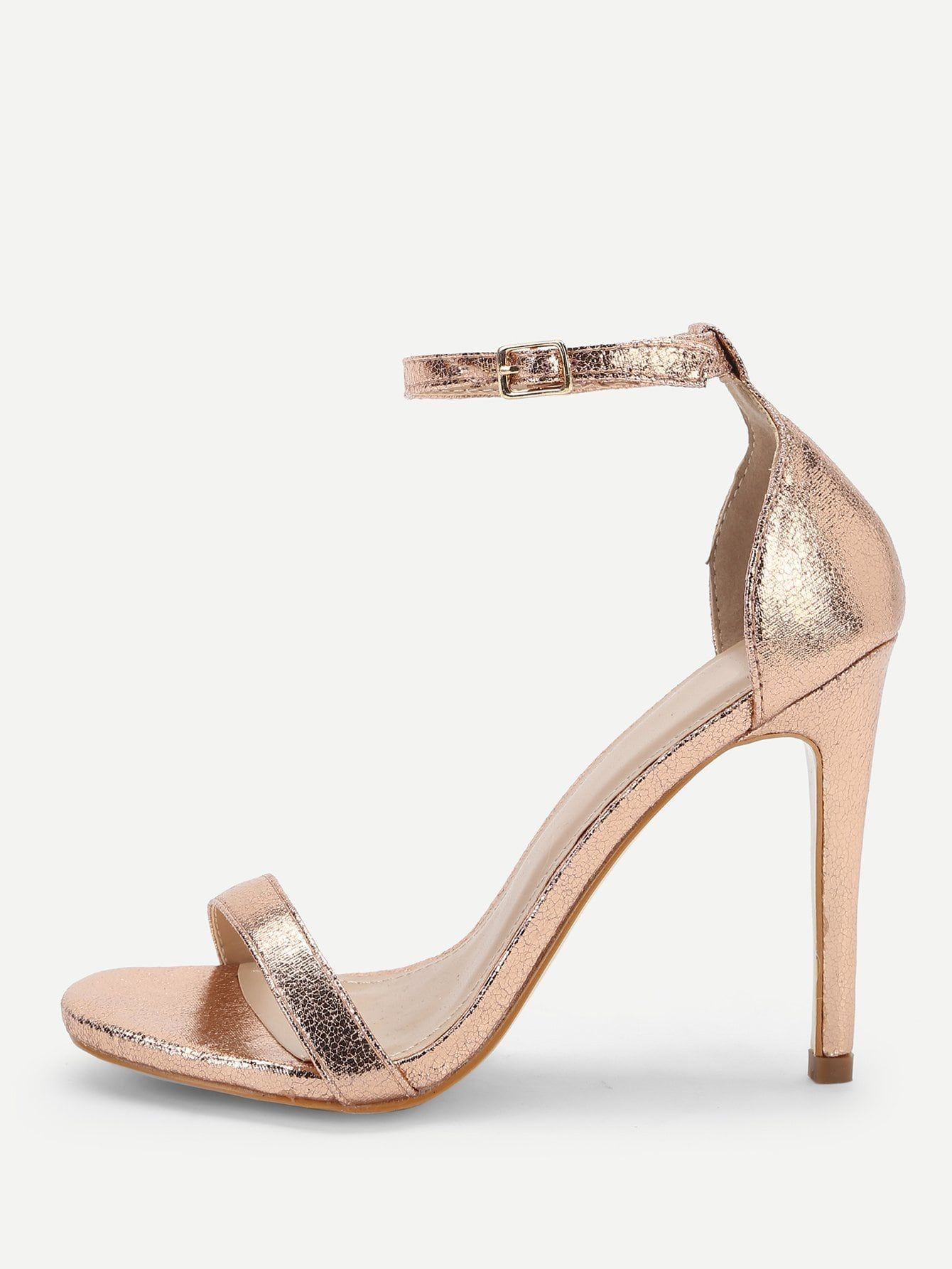 2347952d29c Glamorous Open Toe Plain Ankle strap Gold High Heel Stiletto Single ...