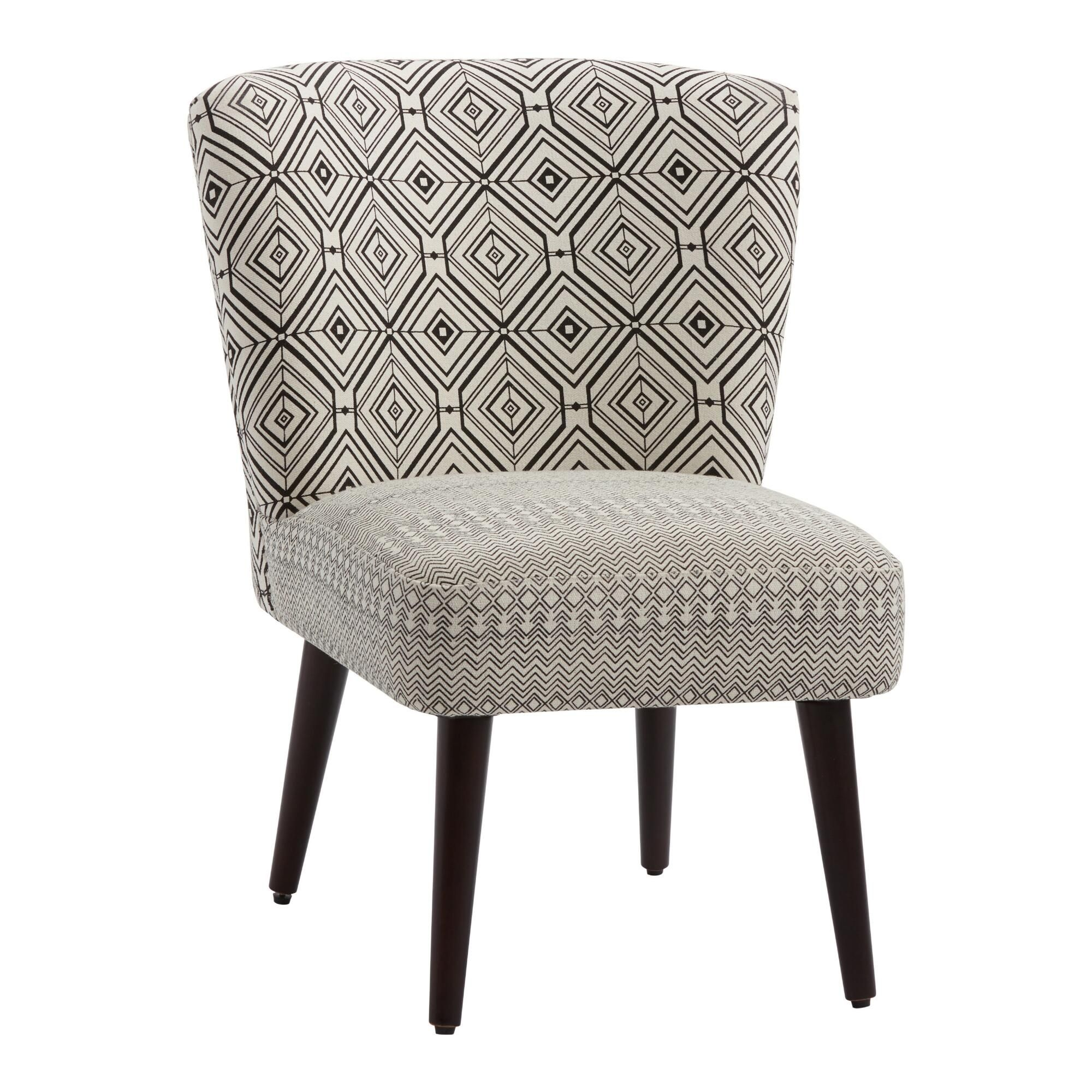 Best Black And White Geo Print Jenny Upholstered Chair 640 x 480