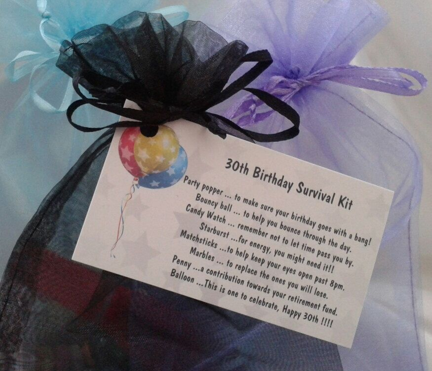 Little BAG of BITS: 30th survival kit - female. male, novelty birthday  present, gift idea, 30th card