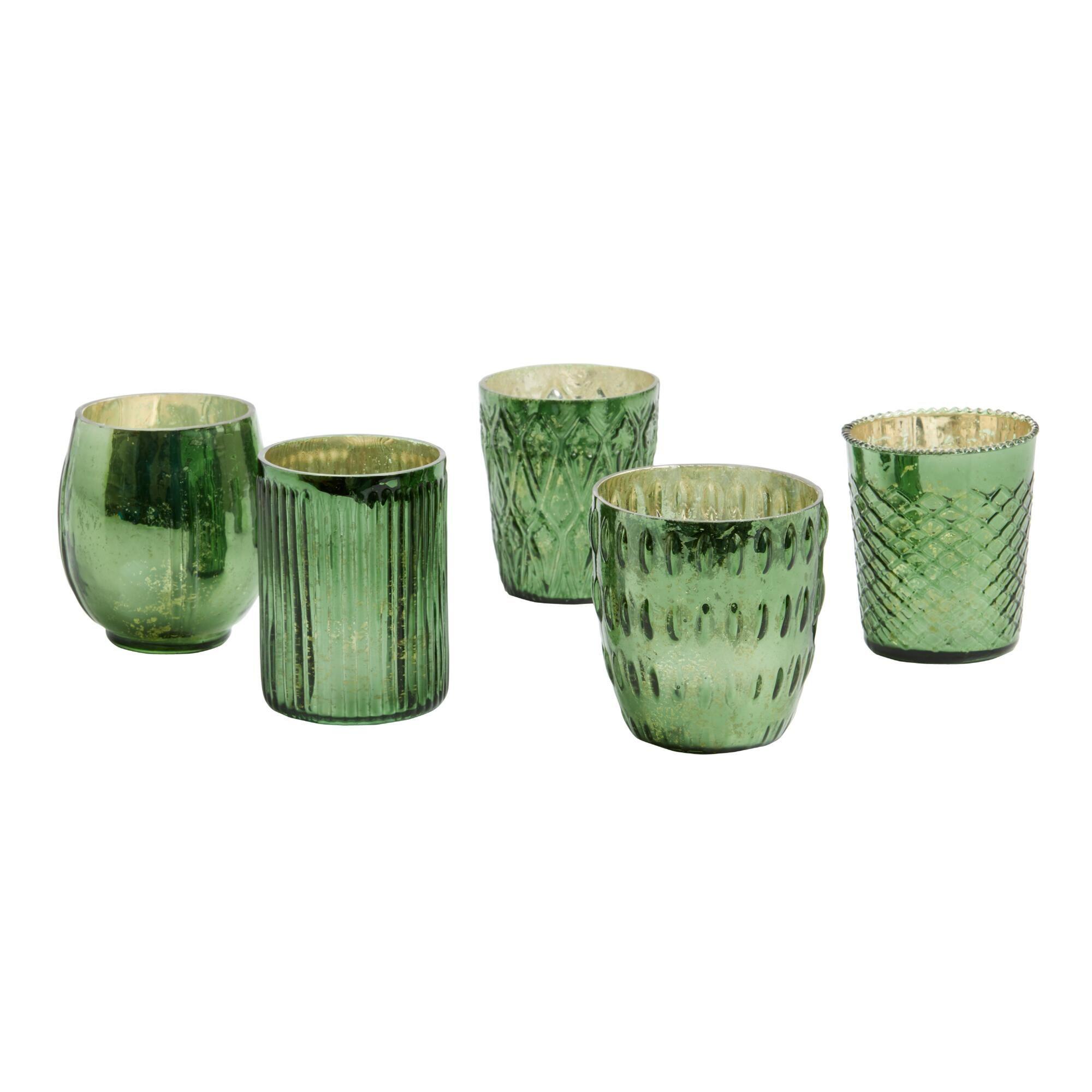 Green Mercury Glass Votive Candleholders Set of 5 by World ...