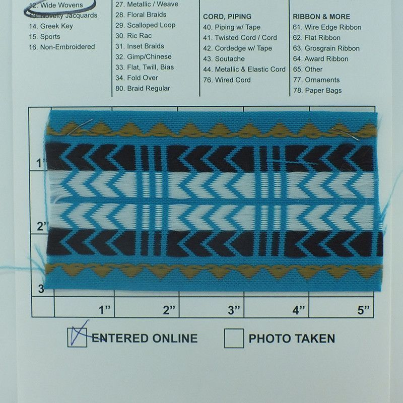 "Geometric Jacquard 2-7/8"" (Per Yard) Brown/Gold/White on Turquoise"