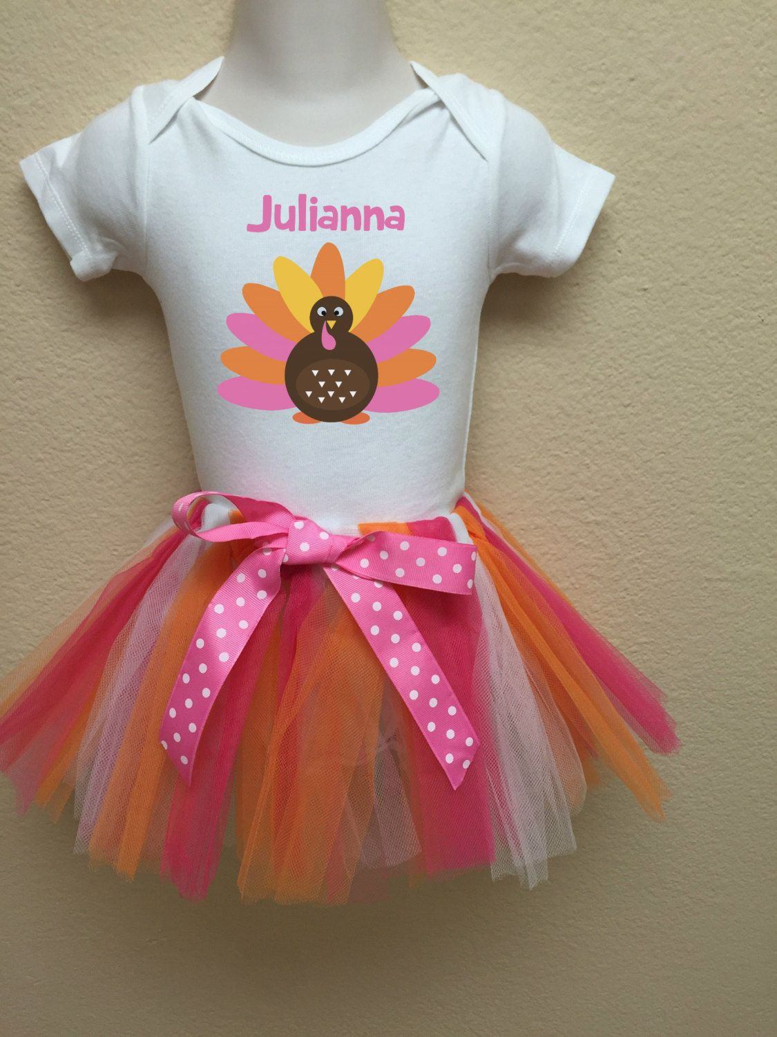 c5c78ad0e Thanksgiving Tutu Outfit with Turkey Girls Thanksgiving Outfit Personalized  Any Name Pink Orange Tutu by FunMunchkin on Etsy