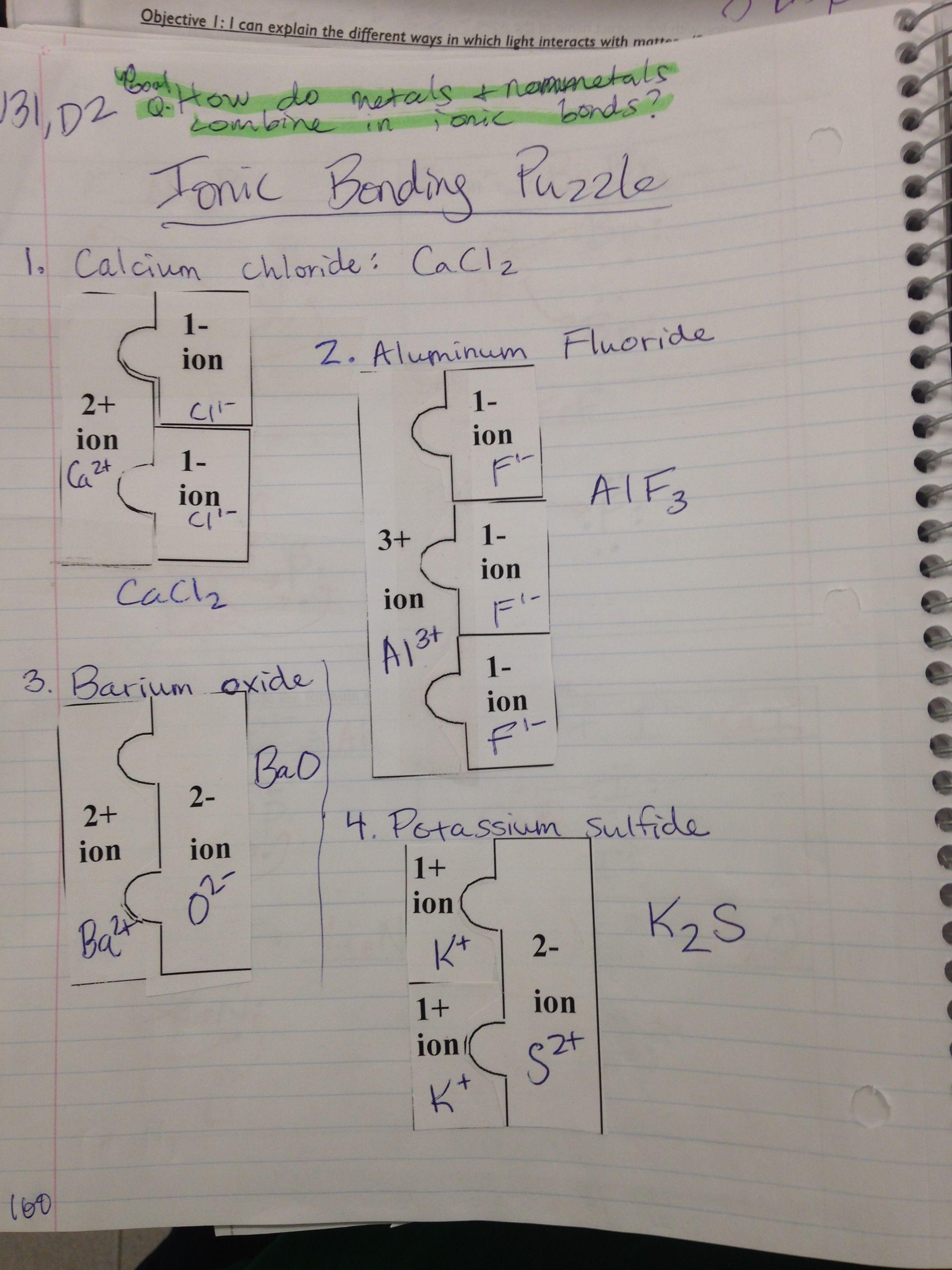 Manipulatives for teaching chemical bonding – Ionic Bonding Worksheet